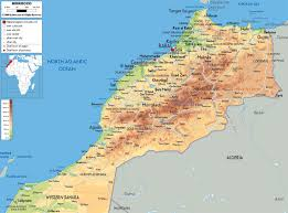Italy Physical Map by Large Detailed Physical Map Of Morocco With Roads Cities And
