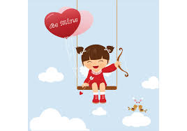 free vector cute valentine kid swinging download free vector art