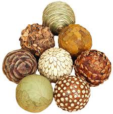 amazon com benzara natural ball bamboo wood balls set of 8 home