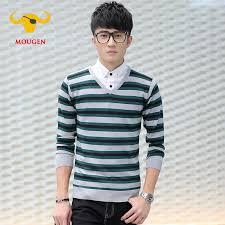 shirt collar mens striped sweater cotton v neck pullover