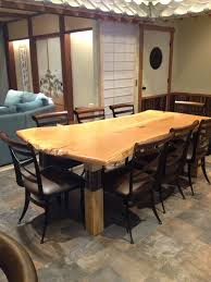 Slab Dining Room Table Custom Built Cabinetry Bar Bookshelves Furniture Wood Design