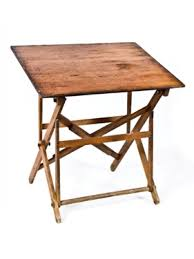 Foldable Drafting Table Late 19th Century Collapsible Or Folding Pine Wood Trestle