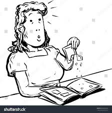cartoon outlined doodle sketch middle aged stock vector 390364831