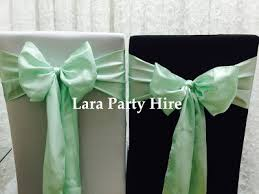 mint chair sashes lara party hire satin taffeta organza chair sash bow set up 1 00