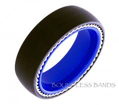 black wedding bands for men tungsten wedding band twisted silver rope dome 8mm black and blue