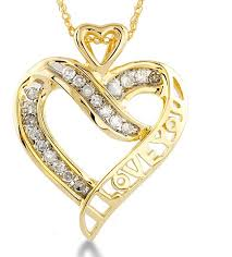 gold diamond love necklace images Solid 10k yellow gold diamond i love you heart necklace jpg