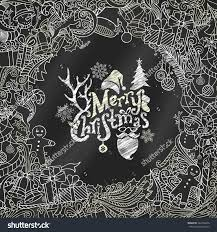 chalk merry christmas background christmas tree stock vector
