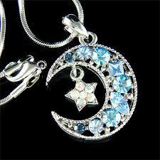 blue moon necklace images Swarovski crystal crescent blue moon star pendant necklace jpg