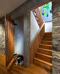 Inside Home Stairs Design Modern Wooden Staircase Design And Exposed Stone Wall Lakewood