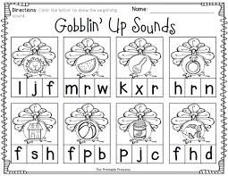 thanksgiving themed activities to teach beginning sounds ending