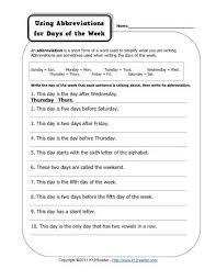 abbreviation days of the week free printable punctuation