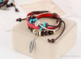 leaf wrap bracelet images Leather wrap bracelets men 39 s alloy leaf pendant bracelet couple jpg