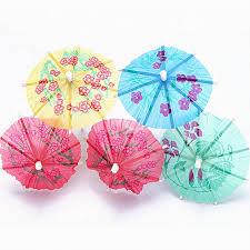 taos 50pcs mixed color disposable bamboo umbrella style fruit