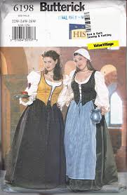 Butterick Halloween Costume Patterns Size 22 26 Misses U0027 Size Bar Maid Costume Pattern