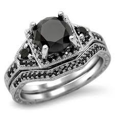 black engagement ring set black engagement ring bridal set