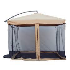 Patio Gazebos And Canopies by Apontus Offset Tan Patio Umbrella Instant Gazebo With Mesh Netting
