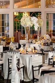 tall hourglass white flower and crystal centerpieces nadia d a classic formal wedding at the estate in atlanta georgia