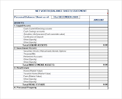 net worth statement template templates radiodigital co