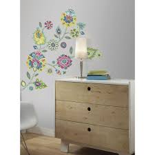 roommates 5 in x 19 in boho floral peel and stick giant wall boho floral peel and stick giant wall decals rmk2468gm the home depot