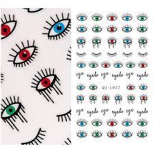 1x nail sticker evil eye water decals transfer decoration punk