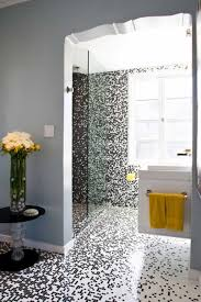 Mosaic Bathroom by Contemporary Bathroom With Black And White Mosaic Tiles In The