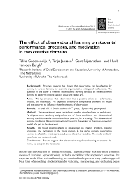 what to write in introduction of research paper the effect of observational learning on students performance the effect of observational learning on students performance processes and motivation in two creative domains pdf download available