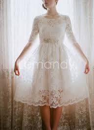 wedding dress pendek modest lace wedding dress with half sleeves tea length bridal