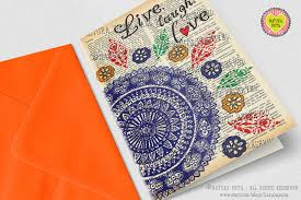 hand drawn mandala greeting card live laugh love card 4x6