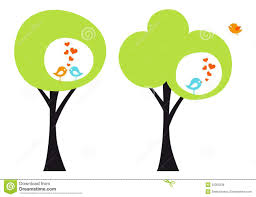 cute trees tree with love birds vector royalty free stock images image