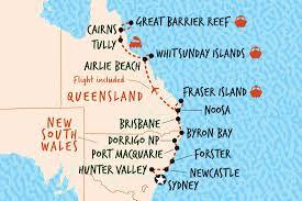 Great Barrier Reef Map Australia U0027s East Coast Encompassed Sydney To Cairns Australia
