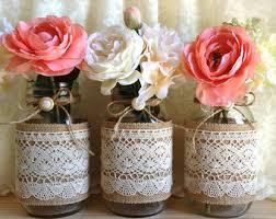 Mason Jar Vases Wedding Turquoise Burlap And Lace Covered 3 Mason Jar Vases Wedding