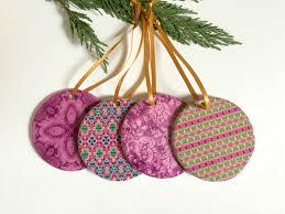bohemian ornament set pink teal tree ornaments