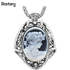 cameo antique necklace images Lady queen cameo leaf crystal resin pendant necklace vintage jpg