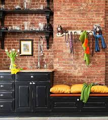 Kitchen Cabinets Open Shelving Rustic Kitchen With Black Cabinets And Open Shelves Hooks Brick
