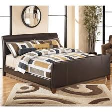Upholstered Sleigh Bed Signature Design By Ashley Stanwick King Faux Leather Upholstered