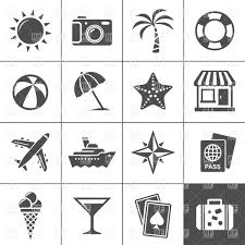 cocktail icon vector summer and holiday resort stamps palm trees cocktail hula