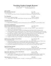 Sample Of A Job Resume by Student Teacher Resume Berathen Com