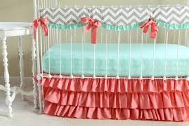 Crib Bedding Etsy by Bumperless Baby Bedding Mint Coral Chevron Crib Bedding With