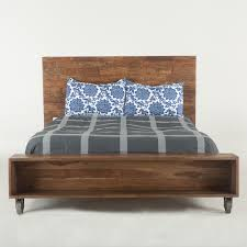 industrial loft reclaimed teak queen size platform storage bed