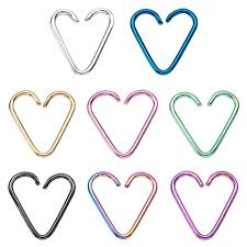 heart cartilage earring heart cartilage earrings 18ga 316l surgical steel titanium