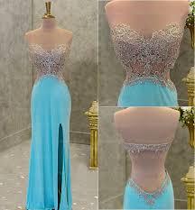 blue backless prom dress prom dress slit prom dress 2017