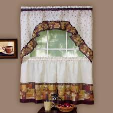How To Hang Curtain Swags by Kitchen Curtain And Swag Set Coffee Walmart Com
