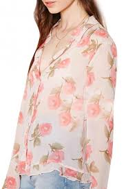 floral chiffon blouse pink floral print ruffle hem sleeve button front chiffon