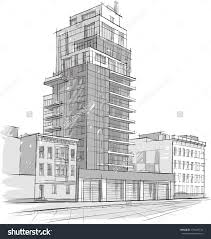 pencils sketch of a bank building building architecture drawing in