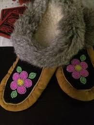 ugg moccasin u0027s with beaded moosehide tops trimmed with arctic fox