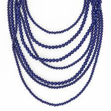 blue bead necklace images Multi layered beaded necklace navy beaded strands by shamelessly jpg