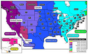 Map North America Ontimezone Com Time Zones For The Usa And North America In United