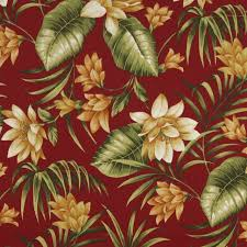 Tropical Upholstery Red Gold And Green Floral Outdoor Indoor Marine Upholstery Fabric
