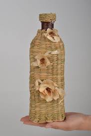 Home Decor With Flowers Madeheart U003e Glass Cute Bottle Woven Over With Corn Leaves For Home