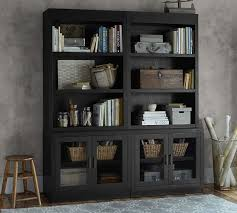Glass Door Bookshelves by Reynolds Open Bookcase With Glass Door Cabinets Pottery Barn